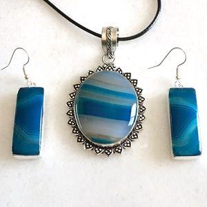 Botswana Agate Stone Necklace & Earrings Set
